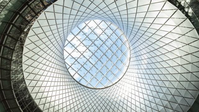 glass light dome, oculus fulton street subway station, zoom out - architecture stock videos & royalty-free footage