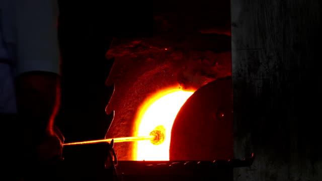 Glass Maker Preparing Hot Glass