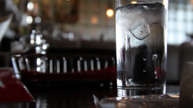 Glass of Ice Water in Japanese restaurant
