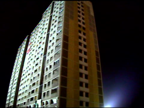 ws glass of windows shatter as building collapses / sighthill, scotland, united kingdom - demolished stock videos & royalty-free footage