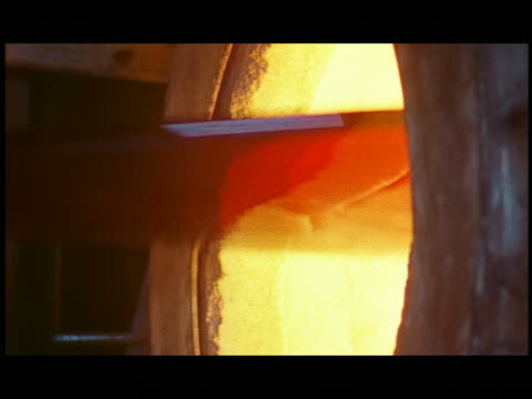cu glass on kiln turning in hot tube - kiln stock videos and b-roll footage