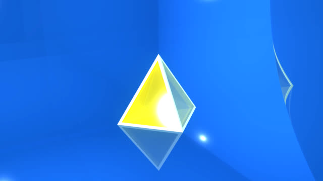 3d glass pyramid spinning on blue background - blue glass stock videos and b-roll footage