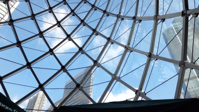 4K: Glass sunroof building with Blue Sky and Clear cloud