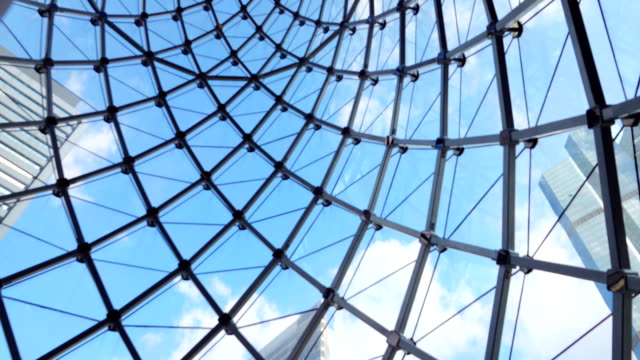 4k: glass sunroof building with blue sky and clear cloud - blue glass stock videos and b-roll footage
