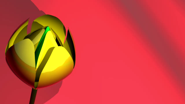3d glass yellow tulip on red background - sculpture stock videos and b-roll footage