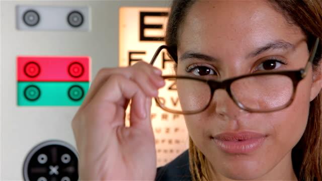 Glasses and eye test theme