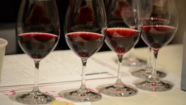 Glasses of wine are judged at The 4th Sakura Japan Women's Wine Awards 2017 the international wine competition judged by female wine professionals...
