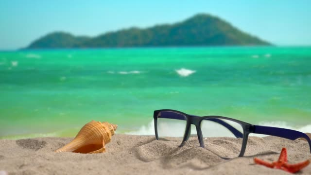 a glasses on the beach. - conch stock videos & royalty-free footage