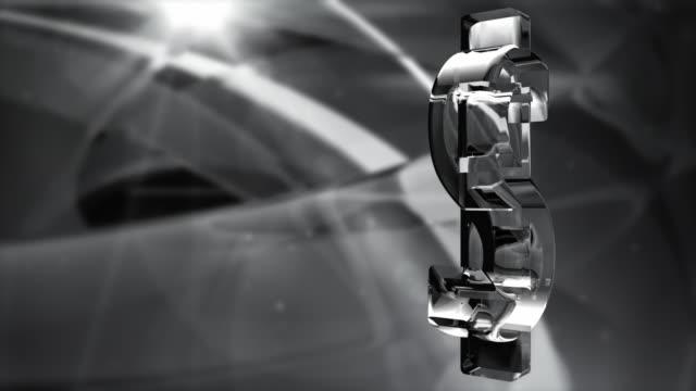 vídeos de stock, filmes e b-roll de símbolo do dólar de águas espelhadas loop-negro de giro fundo hd & branco - fazer dinheiro