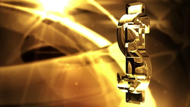 vídeos de stock, filmes e b-roll de símbolo do dólar de águas espelhadas giro fundo de loop de brilho dourado - fazer dinheiro