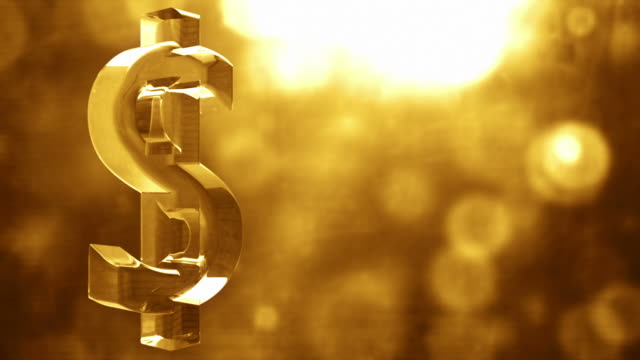 glassy dollar symbol spin background loop - textured golden glow - dollar symbol stock videos and b-roll footage