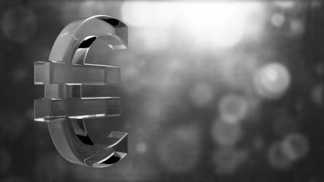 glassy euro symbol spin background loop - textured grey hd - financial accessory stock videos & royalty-free footage