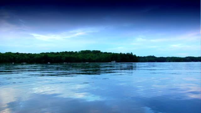 Glassy lake at dusk