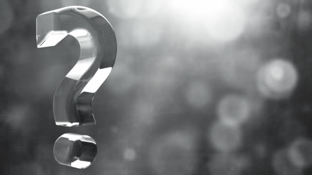 Glassy Question Mark Spin Background Loop - Textured Grey HD