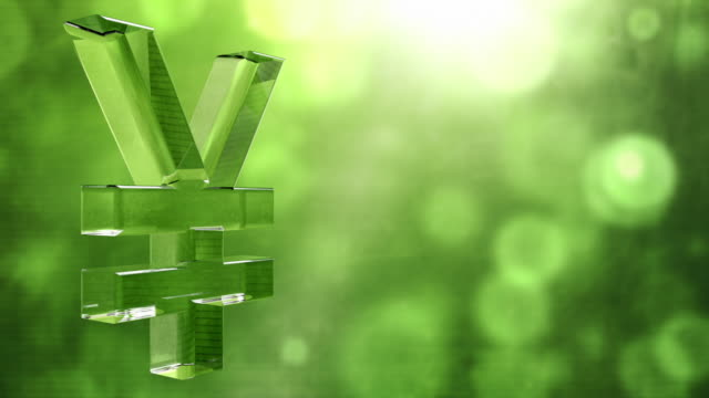 glassy yen symbol spin background loop - textured green hd - yen symbol stock videos & royalty-free footage