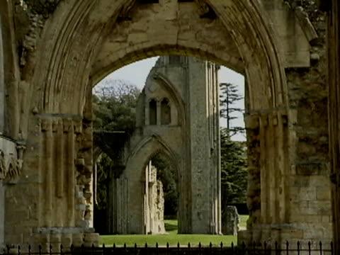 glastonbury abbey - glastonbury abbey stock videos & royalty-free footage