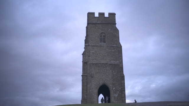 glastonbury tor on a cloudy windy afternoon. - somerset stock videos & royalty-free footage