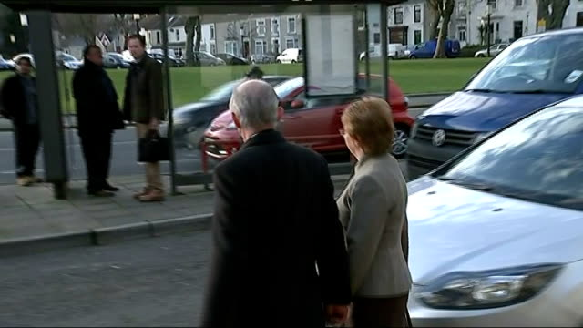 trial of mine manager malcom fyfield wales swansea swansea crown court ext malcolm fyfield from court with woman cilybebyll gleision colliery sealed... - direttrice video stock e b–roll