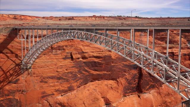 glen canyon dam arch bridge - arch bridge stock videos and b-roll footage