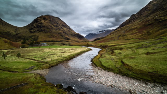 aerial: glen etive, scottish highlands - valley stock videos & royalty-free footage