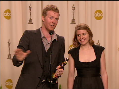 Glen Hansard and Marketa Irglova winners of the Best Original Song award for 'Falling Slowly' from the film 'Once' at the 2008 Academy Awards at the...