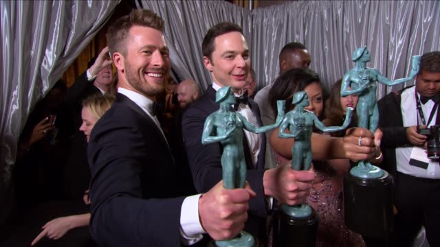 glen powell and jim parsons at 23rd annual screen actors guild awards press room photo room at the shrine expo hall on january 29 2017 in los angeles... - jim parsons stock videos and b-roll footage