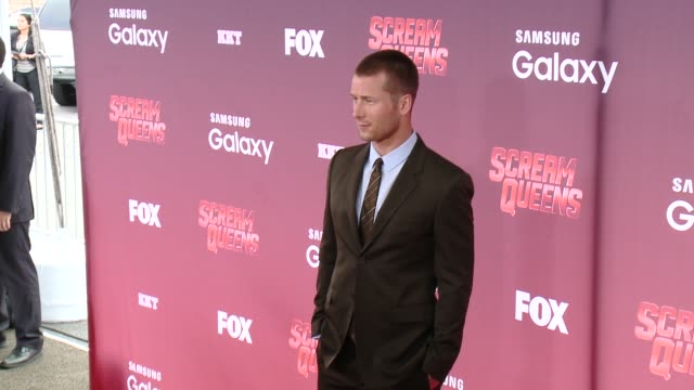 "glen powell at the ""scream queens"" los angeles premiere & party at the wilshire ebell theatre on september 21, 2015 in los angeles, california. - wilshire ebell theatre stock videos & royalty-free footage"