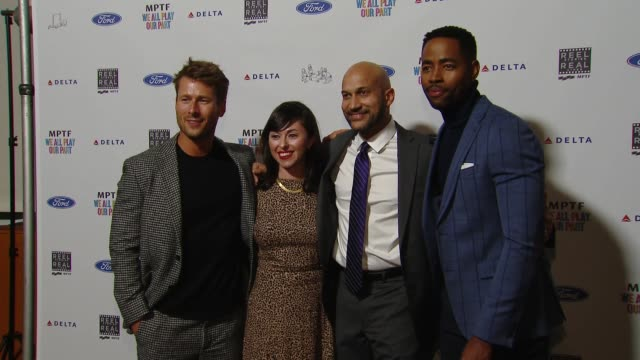 glen powell tara schuster keeganmichael key jay ellis at the 7th annual reel stories real lives event benefiting mptf at directors guild of america... - director's guild of america stock videos & royalty-free footage