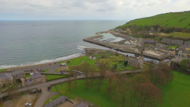 glenarm village northern ireland - northern ireland stock videos & royalty-free footage