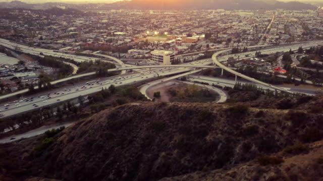 glendale 134fwy, 2 fwy interchange, los angeles - drone shot - glendale california stock videos & royalty-free footage