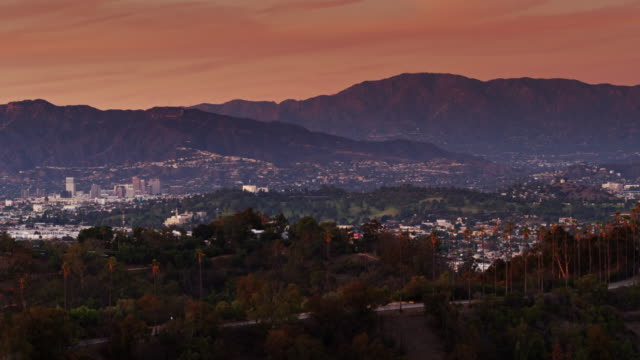 glendale and pasadena from elysian park at sunset - aerial view - pasadena california stock videos & royalty-free footage