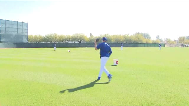 ktla – glendale az us dodgers players throwing and catching balls during spring training at camelback ranch in glendale arizona us on tuesday... - spring training stock videos & royalty-free footage