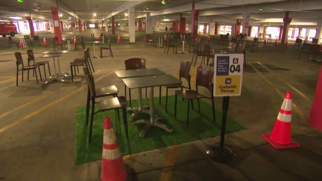 ktla glendale ca us glendale galleria turns parking garage into outdoor dining area durning covid19 pandemic on monday july 27 2020 - dining room stock videos & royalty-free footage