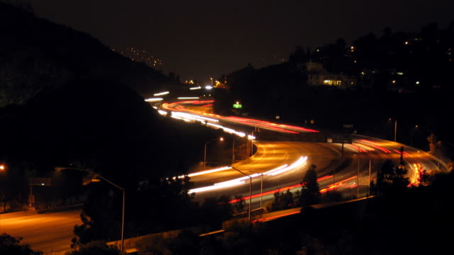 Glendale Freeway through San Rafael Hills at night, time lapse