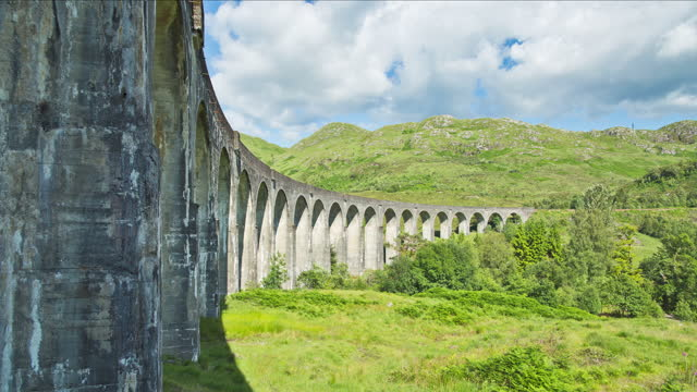 glenfinnan viaduct (elevated bridge) / scotland, united kingdom - cumulus stock videos & royalty-free footage