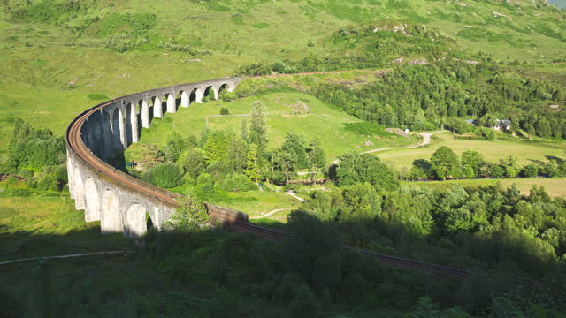 glenfinnan viaduct (elevated bridge) / scotland, united kingdom - general view stock videos & royalty-free footage