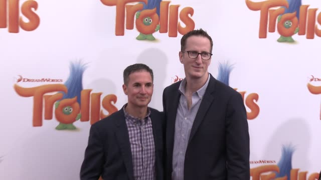 Glenn Berger and Jonathan Aibel at Trolls Los Angeles Premiere at Regency Village Theatre on October 23 2016 in Westwood California