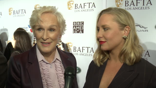 glenn close and annie starke on why is the bafta tea party a must-attend event for you at bafta tea party in los angeles, ca 1/5/19 - glenn close stock videos & royalty-free footage