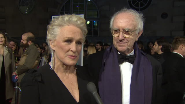 glenn close and jonathan pryce interview on bafta red carpet about the film the wife - glenn close stock videos & royalty-free footage