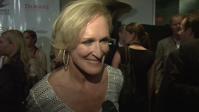 glenn close on her role in 'damages' compared to her role in 'fatal attraction' the script and working with her fellow cast mates at the 'damages'... - damages television show stock videos and b-roll footage