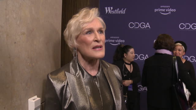 glenn close on what it means to be recognized by the cdga, how important costume design is for her to get into character at 21st cdga in los angeles,... - glenn close stock videos & royalty-free footage