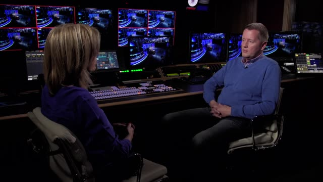 sound engineer simon daniels interview england london int various of simon daniels showing reporter around bt sport studio simon daniels interview sot - glenn hoddle stock videos & royalty-free footage