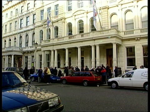 glenn hoddle sacked following controversial comments england london lancaster gate gvs press gathered outside football association headquarters - glenn hoddle stock videos & royalty-free footage