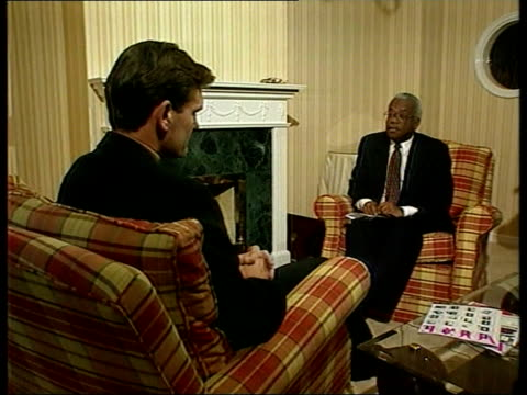 glenn hoddle sacked following controversial comments int 2 shot with trevor mcdonald glenn hoddle interview sot i've never denied i believe in... - glenn hoddle stock videos & royalty-free footage