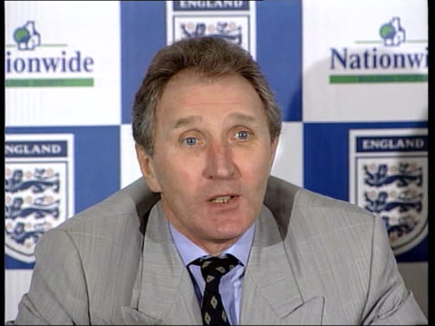 howard wilkinson sitting for speaking at press conference sot i have a great interest in religious beliefs / fortunately i confine them to the dinner... - glenn hoddle stock videos & royalty-free footage