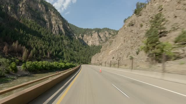 glenwood canyon 7 front synced series highway west summer driving - number 7 stock videos & royalty-free footage