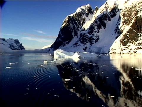 vídeos de stock, filmes e b-roll de gliding by reflected mountains - menos de 10 segundos