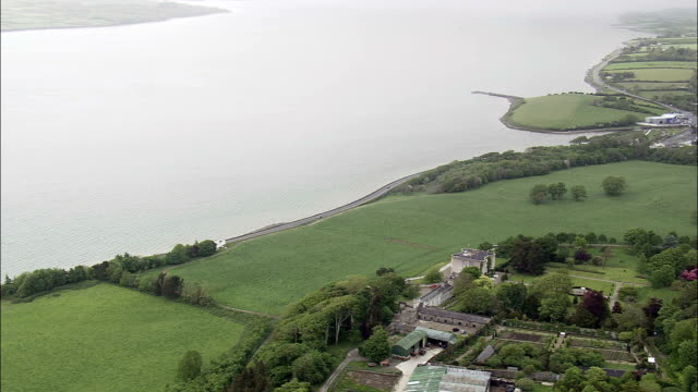 glin castle  - aerial view - munster, limerick, ireland - estuary stock videos & royalty-free footage