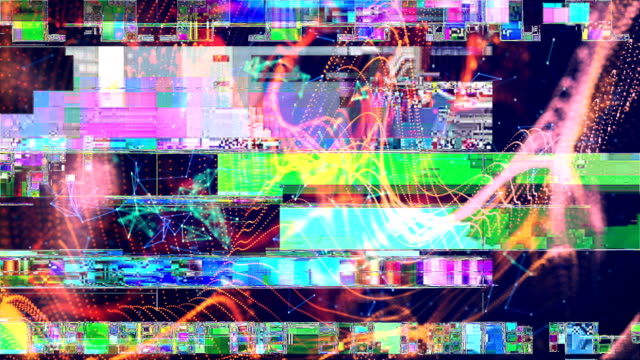 glitch error video damage - distorto video stock e b–roll