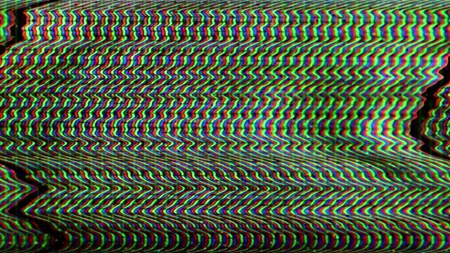 vidéos et rushes de glitch tv bruit statique problèmes de signal distordu - déformé